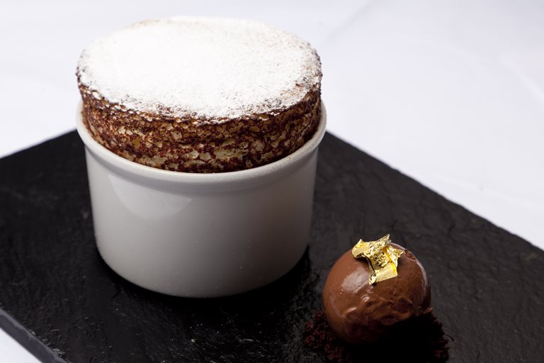 Orange soufflé with chocolate sorbet