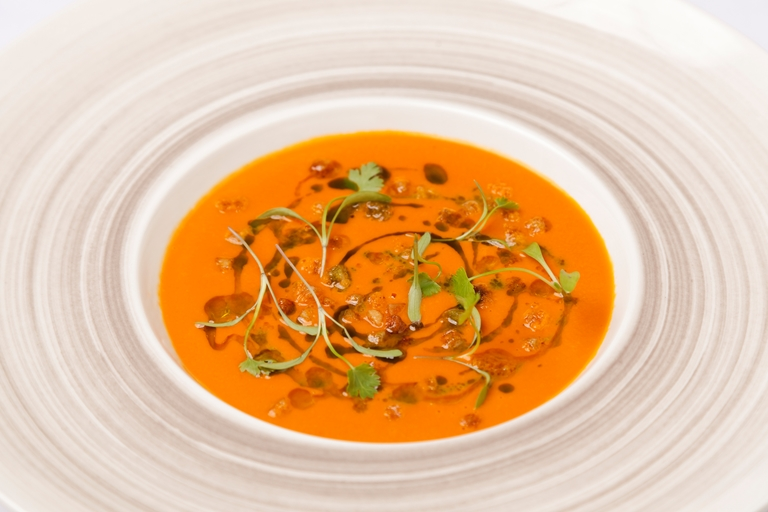Smoked tomato and coriander soup