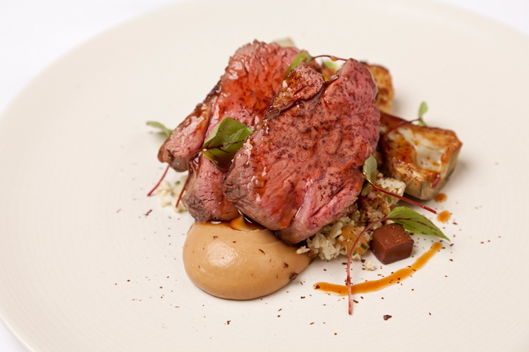 Welsh Lamb with cauliflower, chocolate and raisin