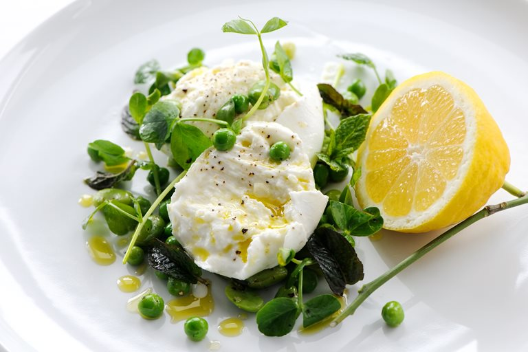 Buffalo mozzarella with peas, broad beans, mint, lemon and olive oil