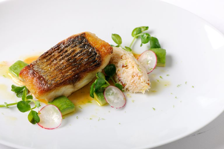 Pan Fried Sea Bass Fillet With White Crab Salad Great