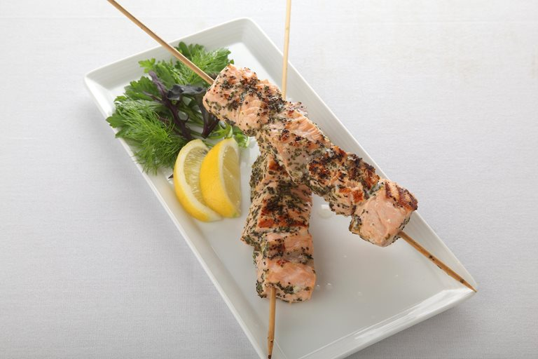 Lemon and herb marinated salmon skewers