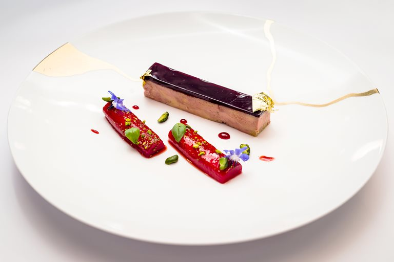 Pressed duck foie gras with rhubarb and pistachios