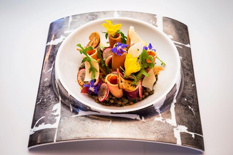 smoked duck foie gras and lentil salad recipe great british chefs. Black Bedroom Furniture Sets. Home Design Ideas