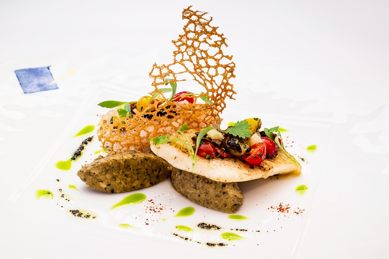 John Dory fillet with aubergine caviar and avocado oil