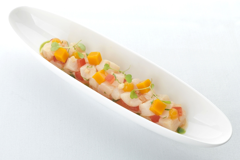 Halibut ceviche with mango and passion fruit