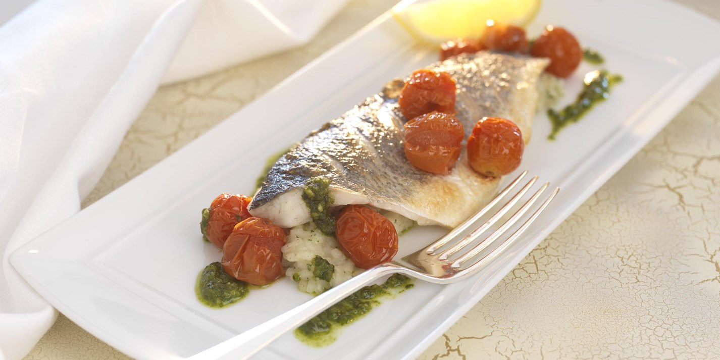 Grilled Sea Bass Recipe With Herb Risotto Great British