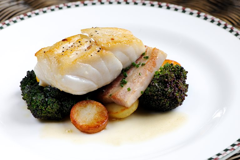 Cod fillet and pork belly recipe great british chefs for How to cook cod fish