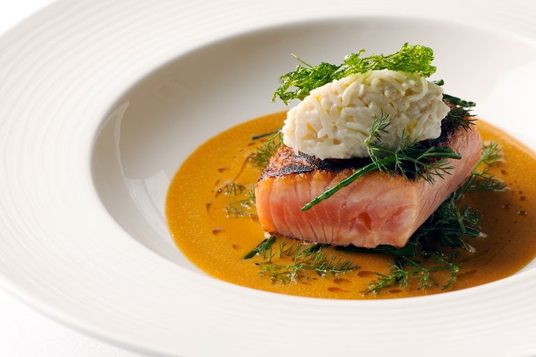 Cider-cured sea trout with a crab sauce and sea vegetables