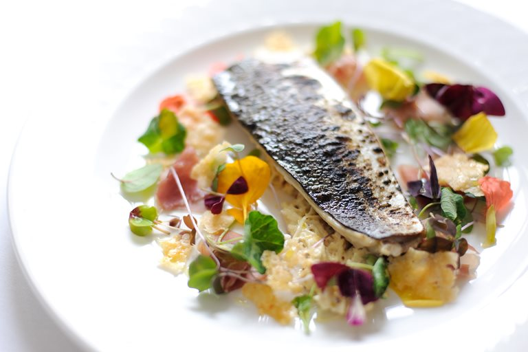 Barbecued mackerel with celeriac mayonnaise