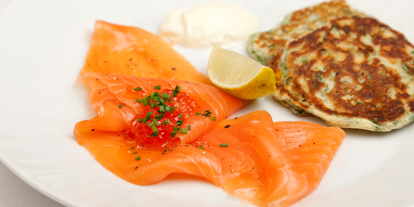 Smoked Salmon with Dill Pancakes Recipe - Great British Chefs