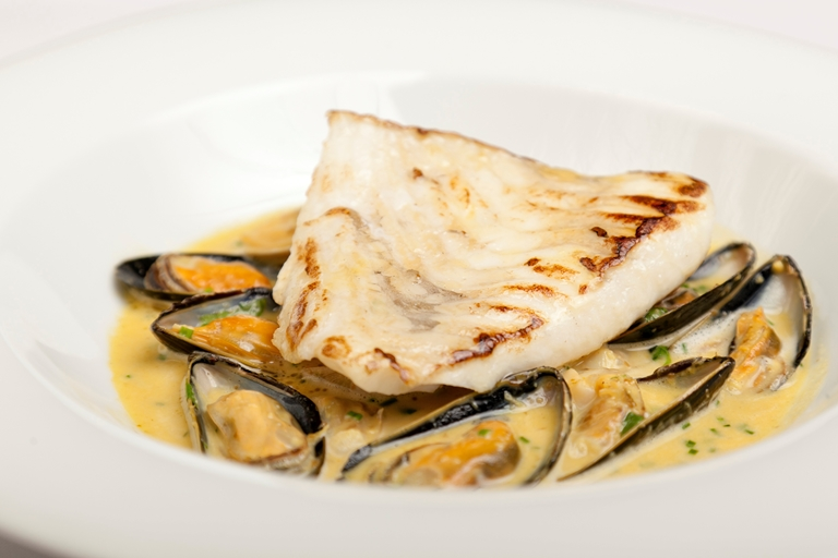 Turbot with spiced mussel and clam broth