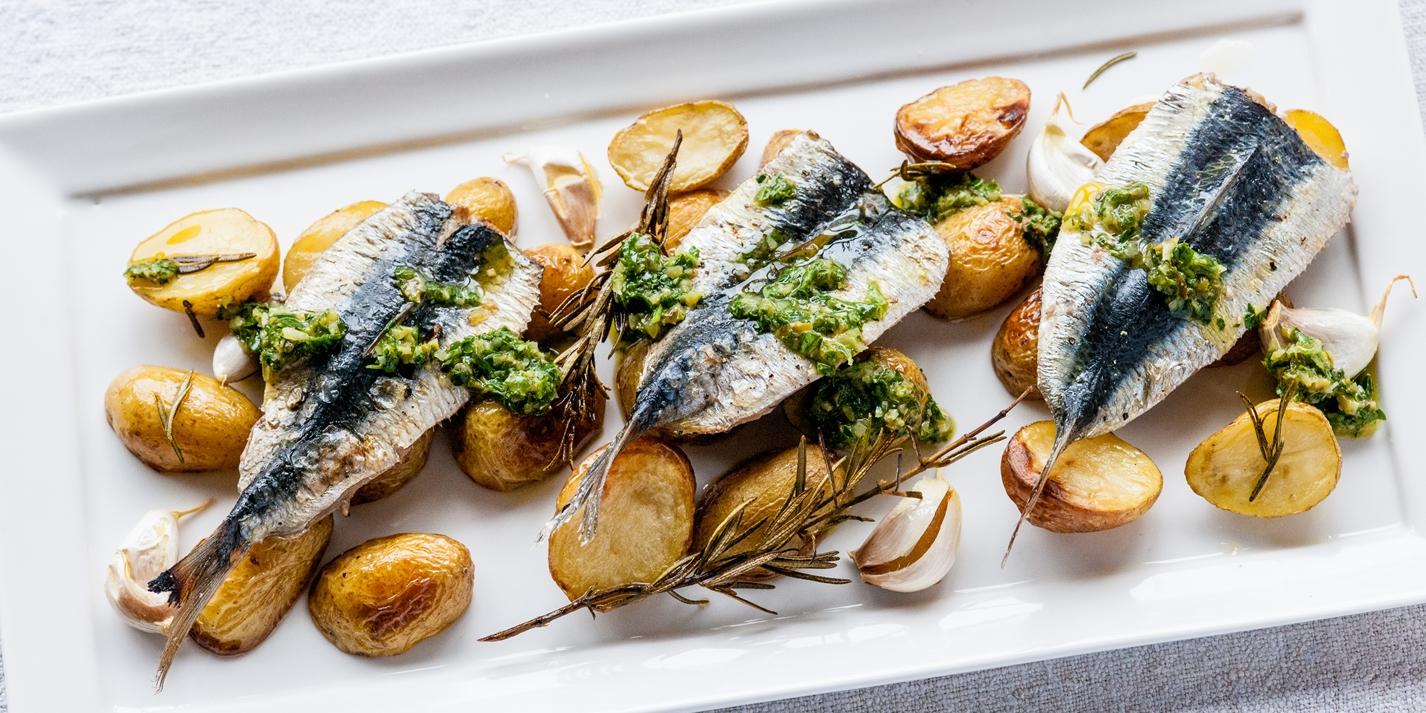 Sardines with jersey royals recipe great british chefs for Sardine lunch ideas