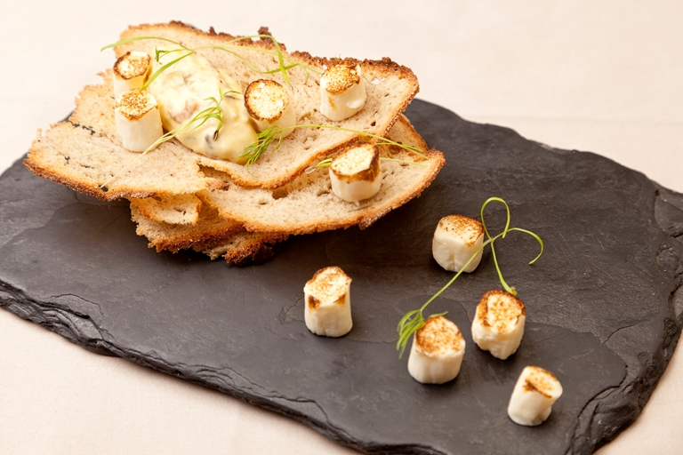 Scallop ballotine on potted shrimp toast