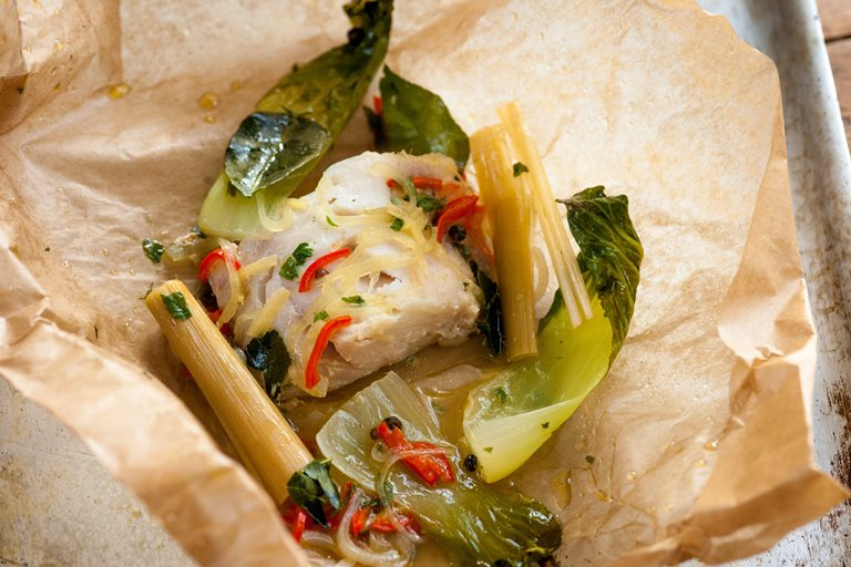 Thai-style haddock in a bag