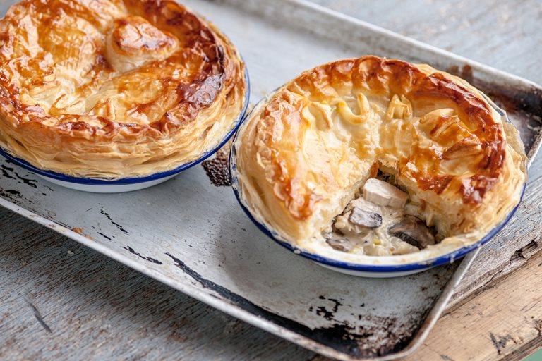 Chicken leek and mushroom pie recipe great british chefs chicken leek and mushroom plate pie forumfinder