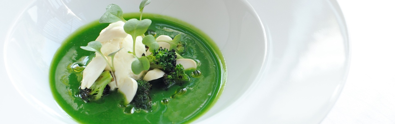 Chilled broccoli soup, salt cod mousse, seared hand-dived scallops and broccoli shoots