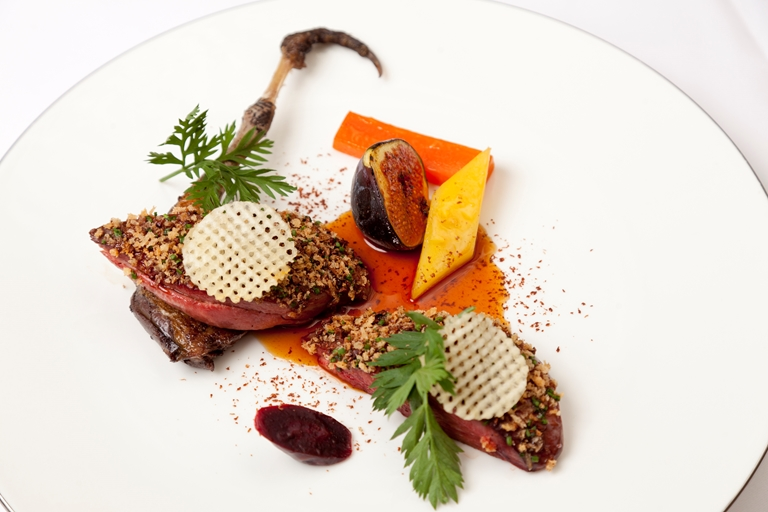 Grouse with glazed figs, heritage carrots and Chocolate Porter sauce