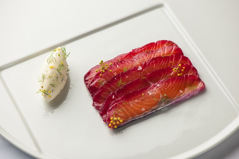 Soy and beetroot marinated salmon with fennel pollen cream