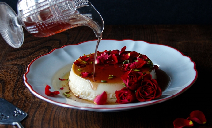 Once cooled, pour rose water oven the flan