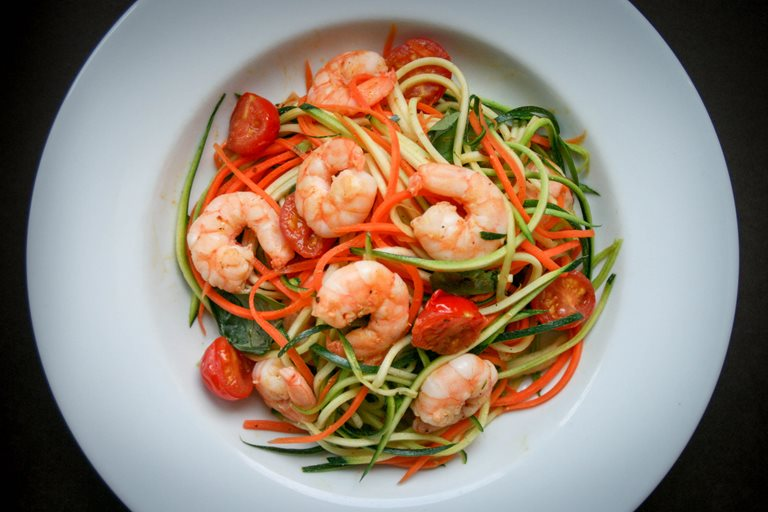 Garlic chilli prawns with carrot and courgette noodles