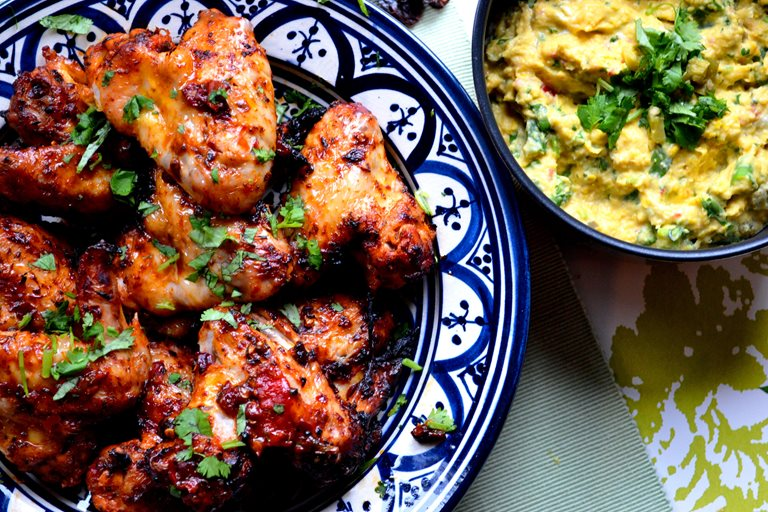 Mexican chipotle wings with creamed corn
