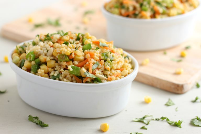 Curried bulgur wheat salad