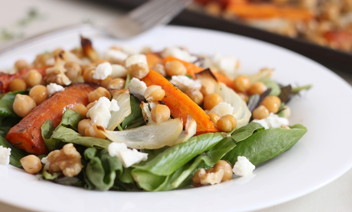 Serve on a bed of salad leaves with walnuts and goat's cheese