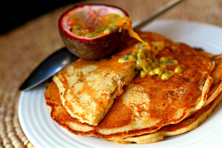 Buckwheat, banana and passion fruit pancakes