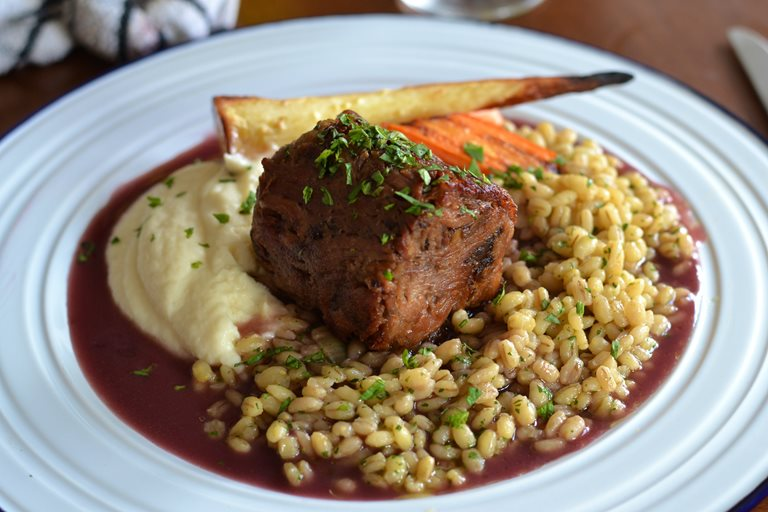 Lamb with pearl barley, root vegetables and port gravy
