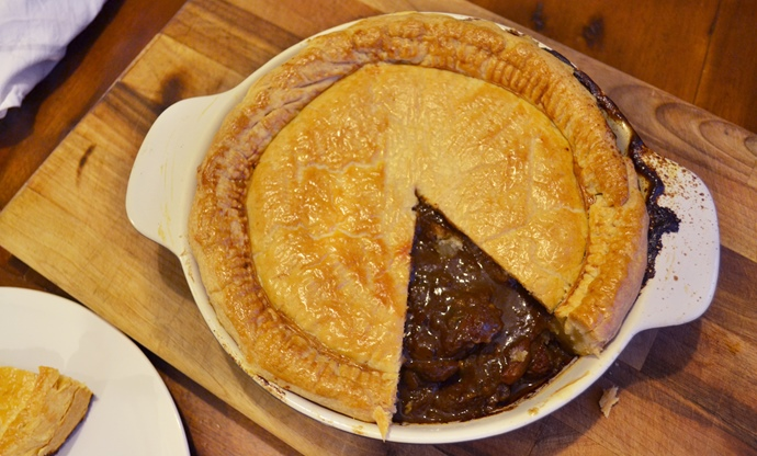 Steak and kidney pie with smoked oysters