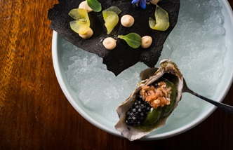 Vegetable oyster and caviar