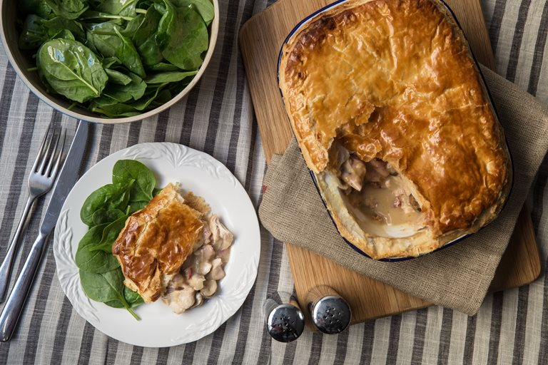 Chicken, bacon and mushroom pie