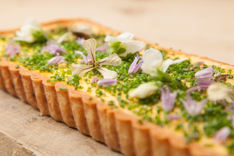 Organic asparagus and hollandaise tart
