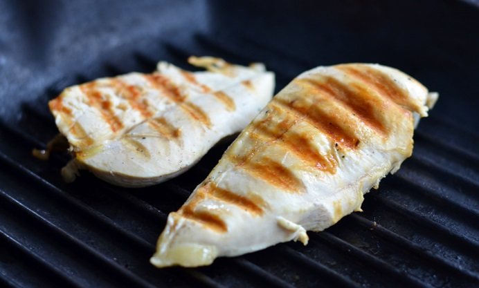 Grill the cooked chicken for a minute each side