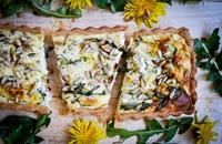 Feta and dandelion tart