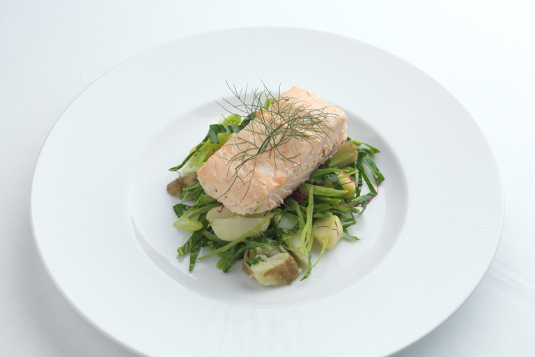 Hot lapsang souchong smoked salmon, new potatoes and spring green salad
