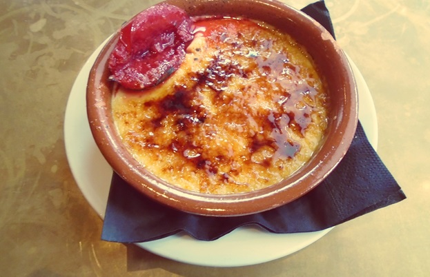 Crema Catalana with baked plums