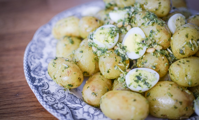 Pembrokeshire Early potatoes with nasturtium pesto and quail's eggs