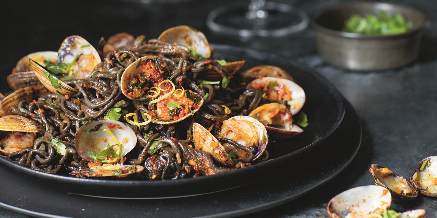Nduja And Squid Ink Vongole Recipe Great British Chefs