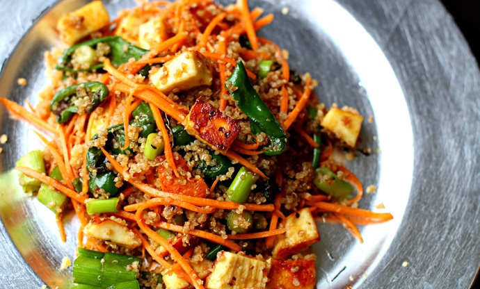 Padrón pepper, paneer, carrot and quinoa salad in a teriyaki dressing