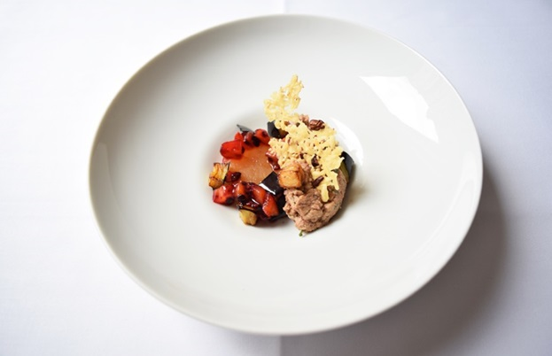 Baba ghanoush with 65% Dominican Republic chocolate, liquorice daikon, sesame cheesy wafer and tamarillo