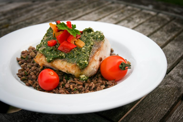 Hake with Coriander Pesto and Chargrilled Tomatoes