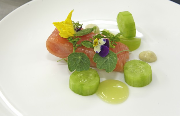 Adam Simmonds's confit of salmon with gooseberries, green tomatoes and smoked lard