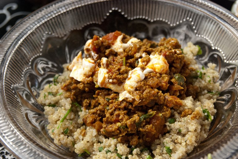 Moroccan-spiced mince with herb bulgur wheat and harissa yoghurt