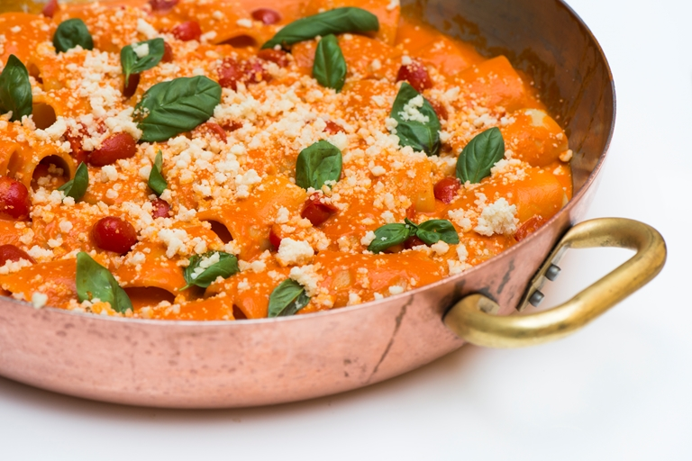 Paccheri with tomato sauce and Parmesan