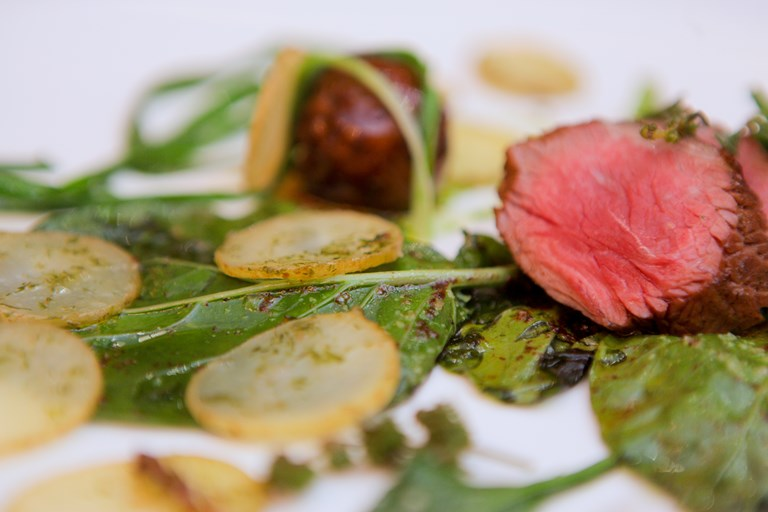 Welsh Lamb rump and faggot, three-cornered leek, Welsh beach vegetables and gutweed potatoes