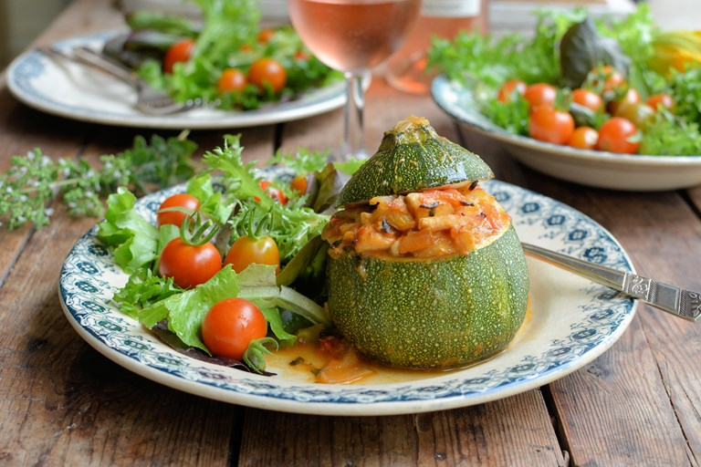 Baked stuffed Provençal courgettes