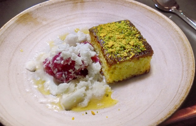 Pistachio and polenta cake with red gooseberries and frozen yoghurt