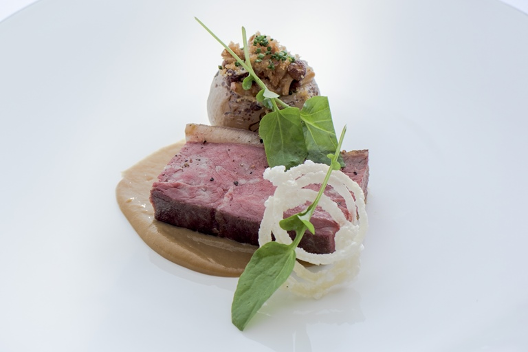 Aged Beef Rump Cap with Stuffed Roscoff Onion